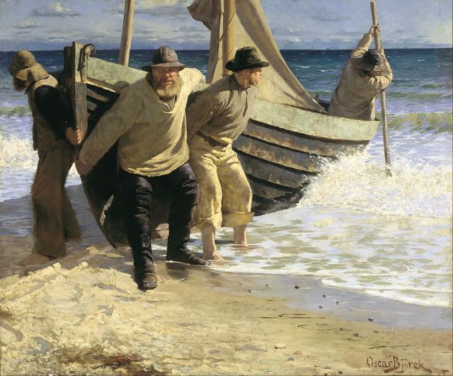 Oscar_Björck_-_Launching_the_boat._Skagen_-_Google_Art_Project