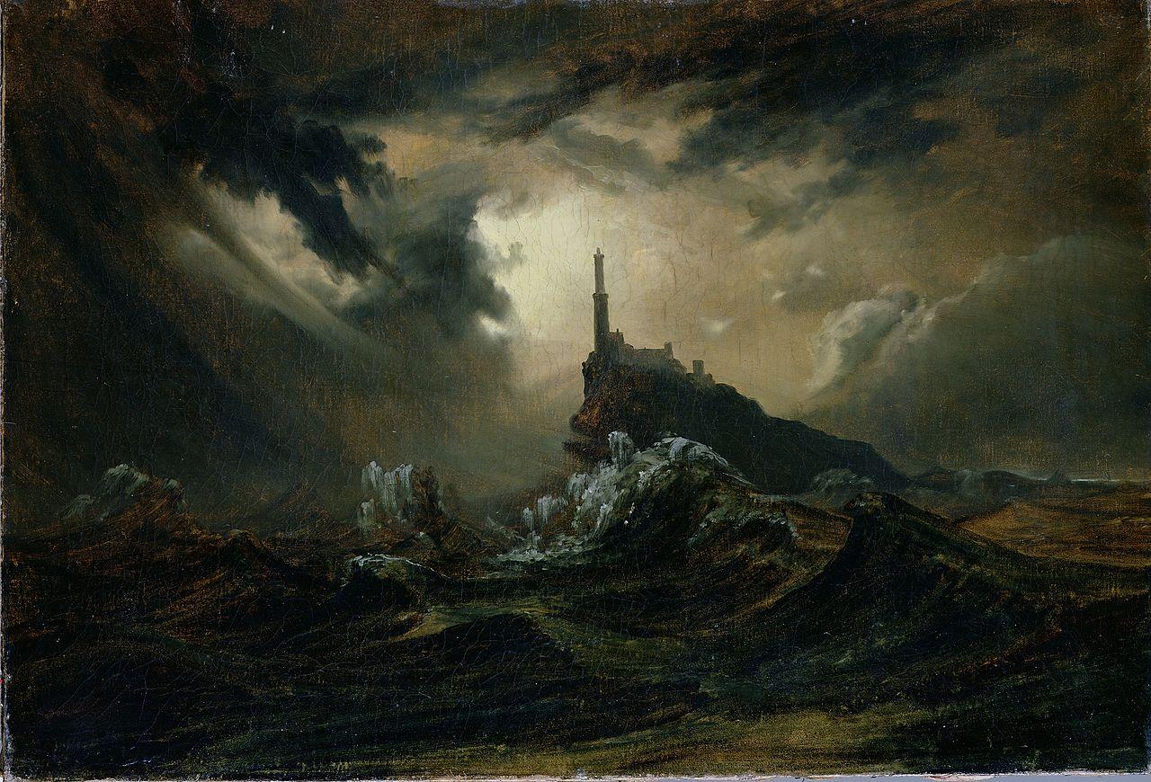 Carl_Blechen_-_Stürmische_See_mit_Leuchtturm